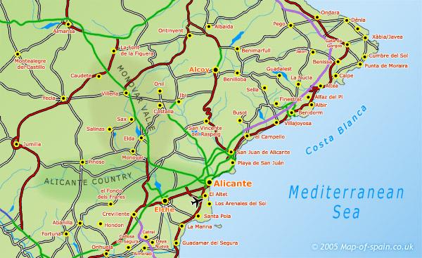costa blanca spain map